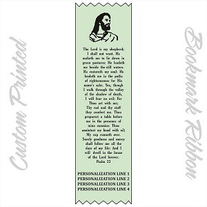"CUSTOM PRINTED Psalm 23 Satin Ribbon Bookmark 2"" x 9"" Promotional Bookmarks Personalized"
