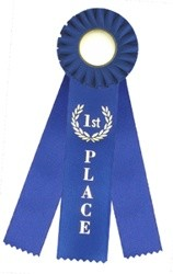 "1st Place Rosette Triple Steamer Ribbon 3"" x 10"""
