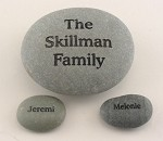 Signature Stones Engraved Set Includes Large Family Rock and Two Name Stones