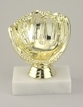 Baseball Glove Ball Holder Award Trophy ~ Marble Base, Personalization Included